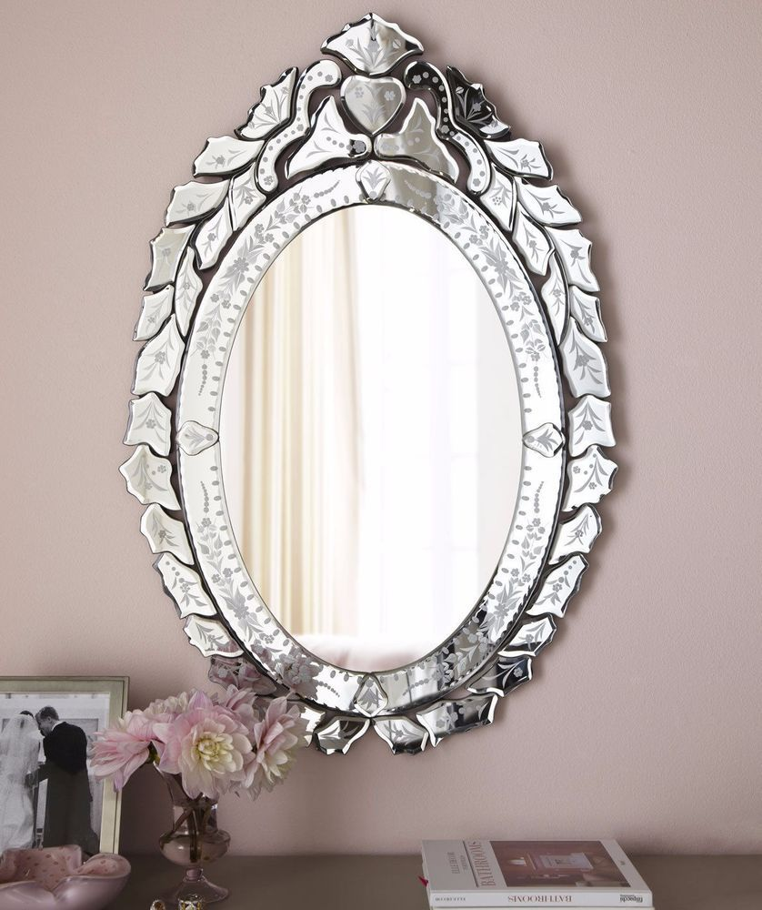 New Horchow Neimans French Oval Venetian Glass Wall Mirror Bathroom Vanity Entry Foyer Living Room Venetian Wall Mirror Mirror Decor Mirror Wall
