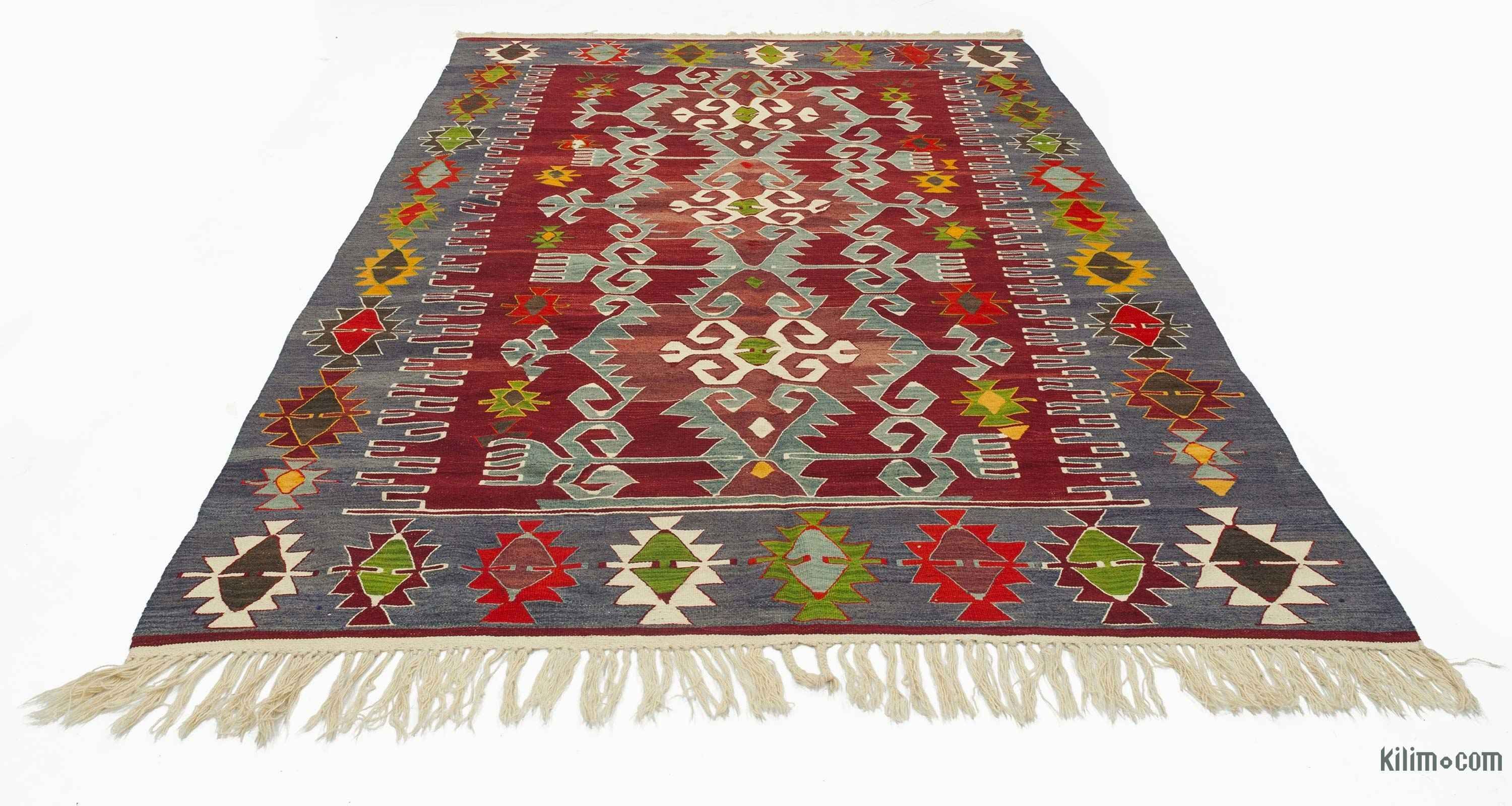 K0027281 Red Blue Vintage Ushak Kilim Rug Com The Source For Authentic Rugs Kilims Overdyed Oriental Hand Woven Turkish