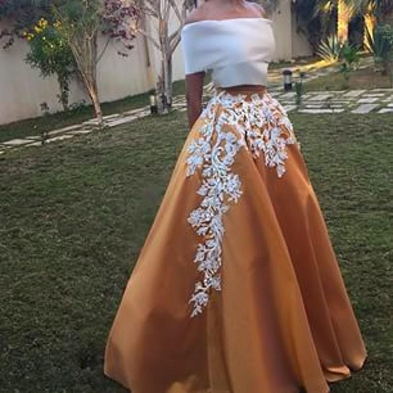 2015 New Two Pieces Vintage Satin Prom Dresses Off Shoulder Short Sleeve  Gold Floor Length Formal Plus Size Arabic Abaya Evening Party Gowns Prom  Dresses ... a9aa2897f98a