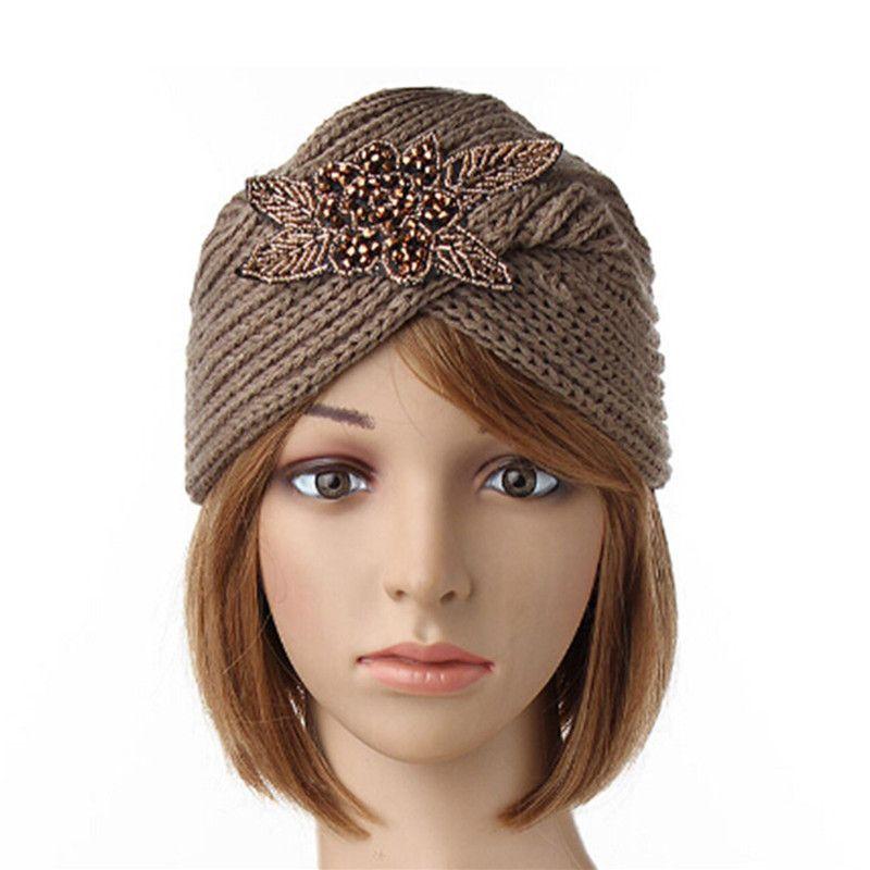 Women Crochet Knitting Beanie Cap Turban Handmade Headwrap Headband Winter Warm Hat