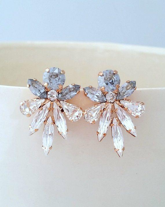 b546a8ecbbf138 Dusty blue earrings,Light Blue earrings,Blue earring,Dusty blue Bridal  earrings,Crystal statement earring,cluster earring,Swarovski earring