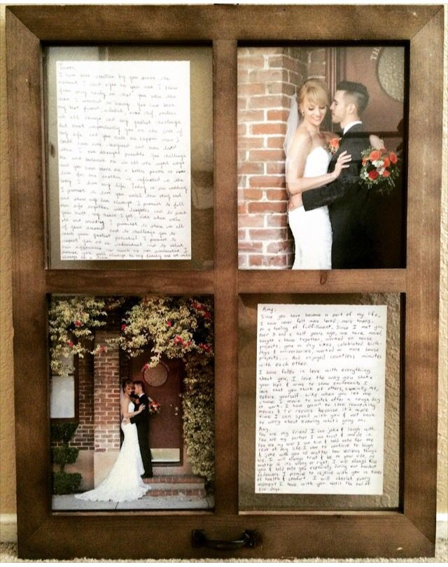Handwritten Vows And Wedding Pictures In A Window Frame
