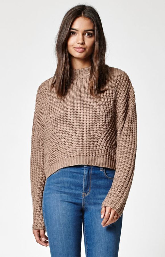 11b315645e1 Kendall   Kylie Chunky Cocoon Mock Neck Sweater