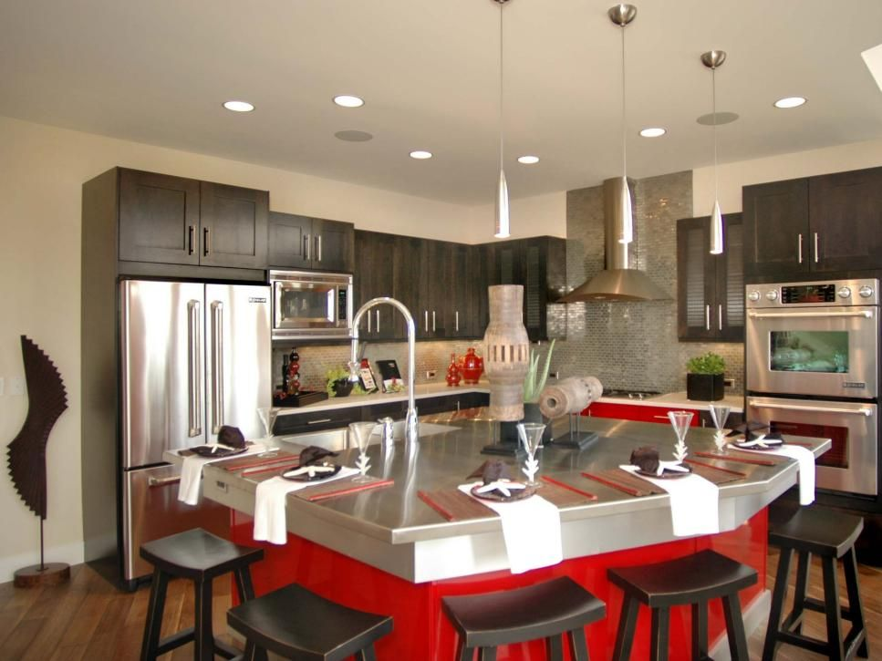 Kitchen Islands Beautiful Functional Design Options  Stainless Inspiration Kitchen With Islands Designs Review
