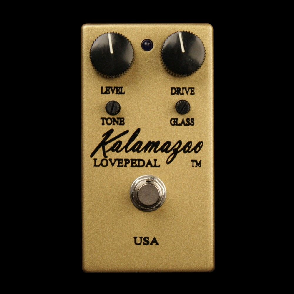 Gold Lovepedal Kalamazoo Overdrive: Really love the look of the chrome one, but the Gold's tone is magical. Matches my Les Paul, too!