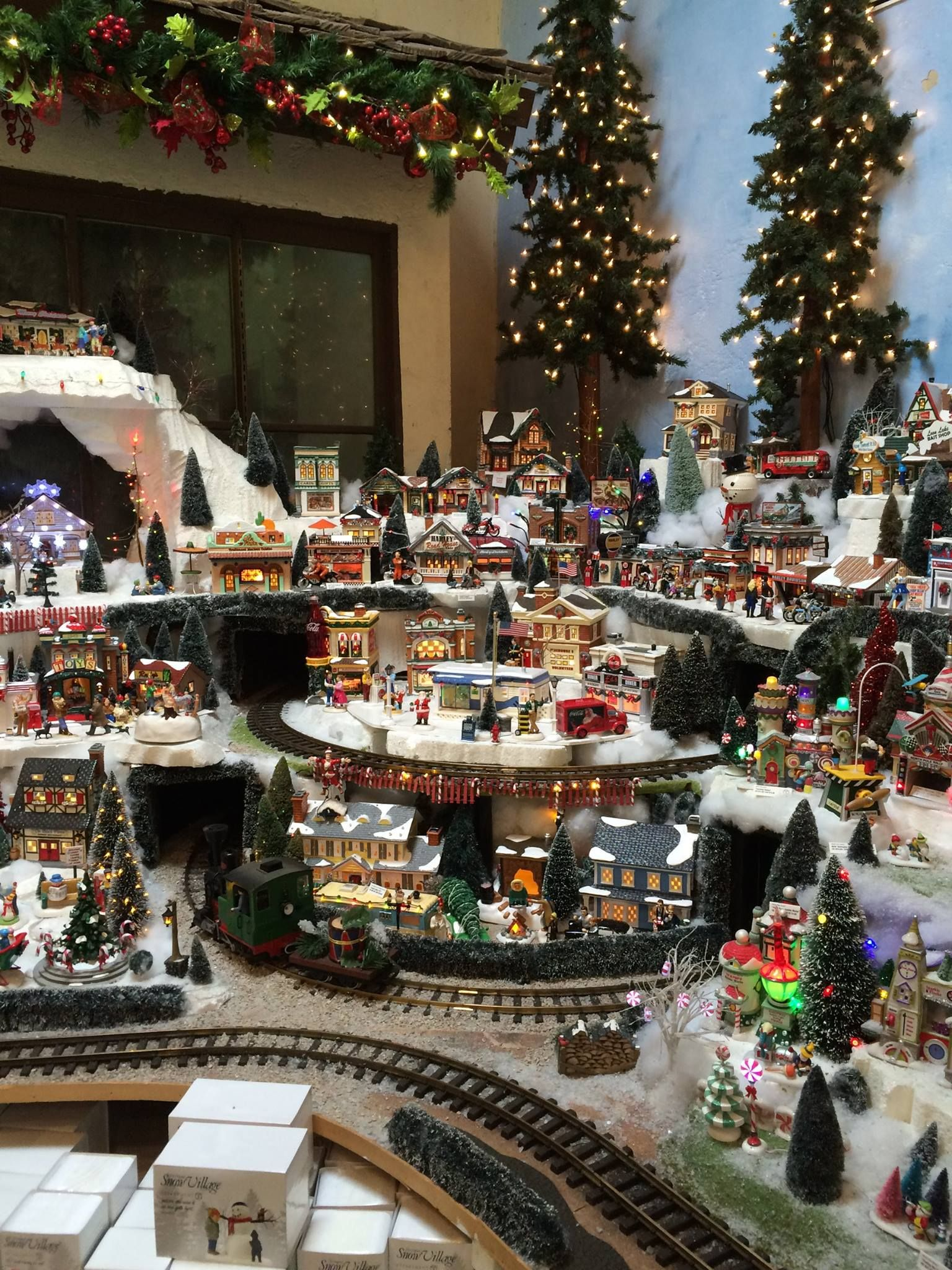 Pin by Danielle Copeland on Christmas   Christmas tree train, Christmas village display, Diy ...