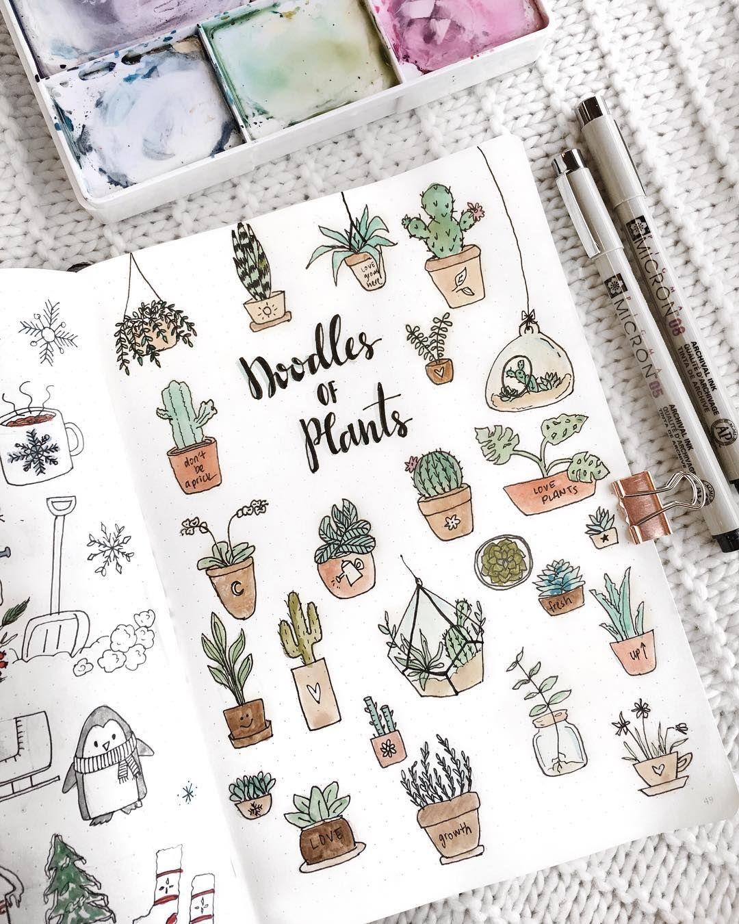 Bullet journal potted plants doodles, bullet journal drawing ideas