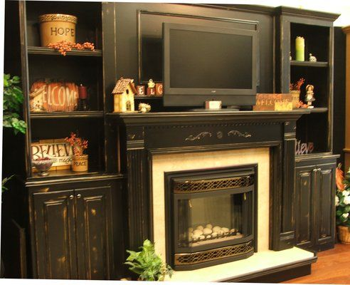 Black Distressed Bookcase Fireplace I Like How The Tv
