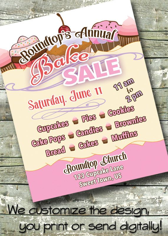 BAKE SALE ~ Charity Fundraiser ~ 5x7 Invite ~ 85x11 Flyer ~ 11x14