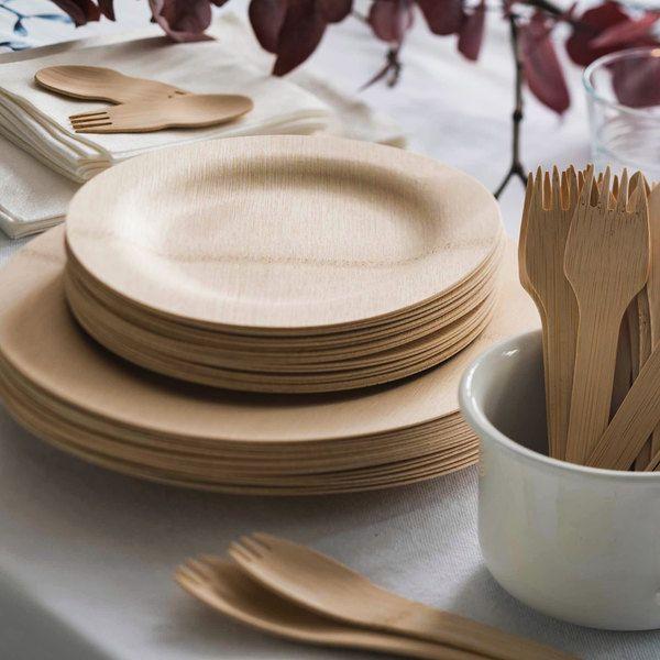 Bambu 060800 Veneerware 11 Disposable Bamboo Plate 100 Box In 2020 Bamboo Plates Wedding Food Clean Eating Snacks