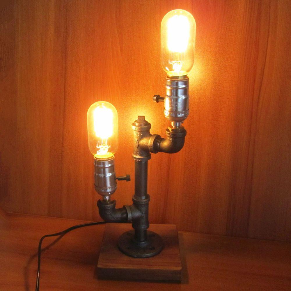 2cc46b35bd3 Iron Pipe Table Desk Lamp Light Retro Industrial Style Two Edison Light Bulb