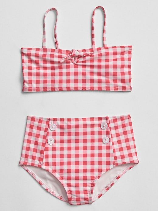 142dd69c6636f Gingham Swim Two-Piece from the Gap. I love this retro high-waisted swimsuit  for girls. So sweet trendy gingham!