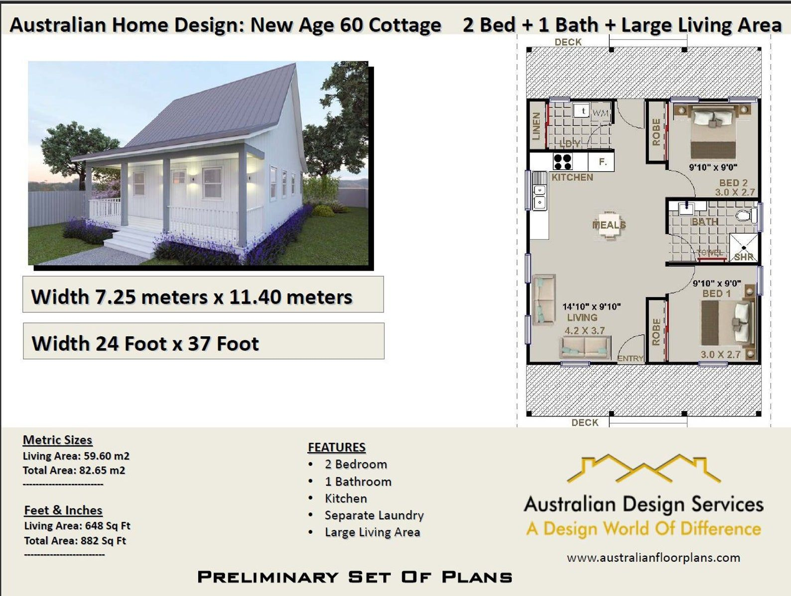Small Cottage House Plan 59 M2 Living Area Or Total 82 65 M2 Etsy House Plans Australia Small Cottage Homes Small Cottage House Plans