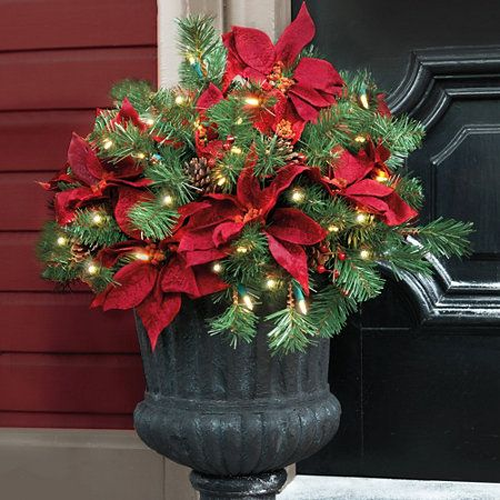 Pre Lit Poinsettia Christmas Urn Filler Christmas Urns Christmas Tree In Urn Outdoor Christmas