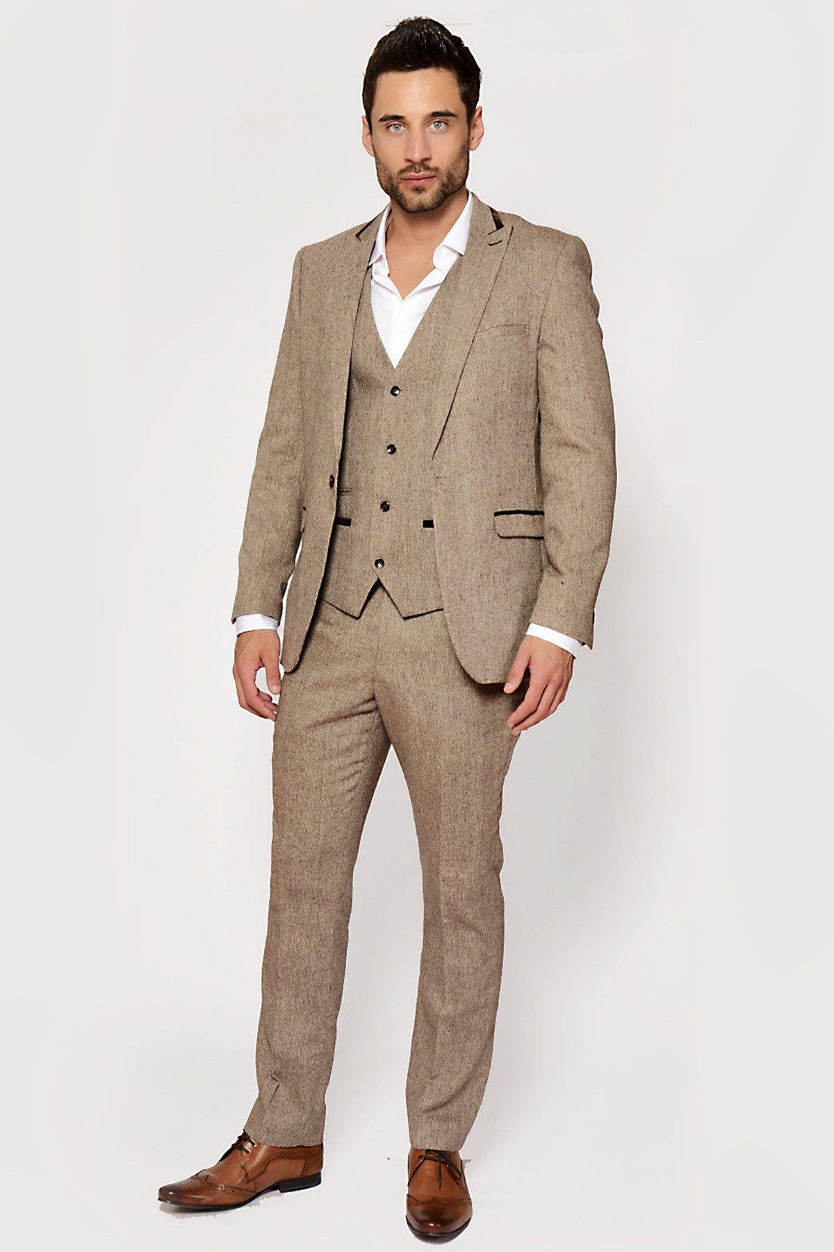 Mens Tan Tweed Three Piece Suit | More of a classic style for men ...