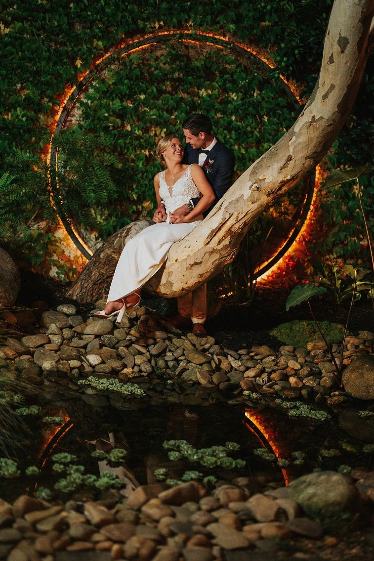 Rustic Mountain Wedding with lush and gentle green tones and deep red
