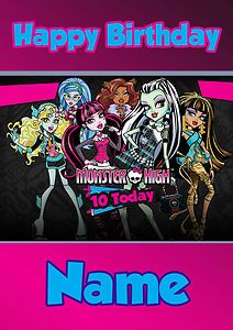 Free Monster High Birthday Cards | PERSONALISED-MONSTER-HIGH-DOLLS-BIRTHDAY-CARD-LARGE-A5-FREE-1st-CLASS ...