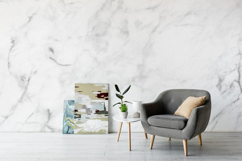 White Marble Wallpaper Peel And Stick Marble Wall Mural Etsy Living Room Murals Marble Wall Mural Room Wall Decor