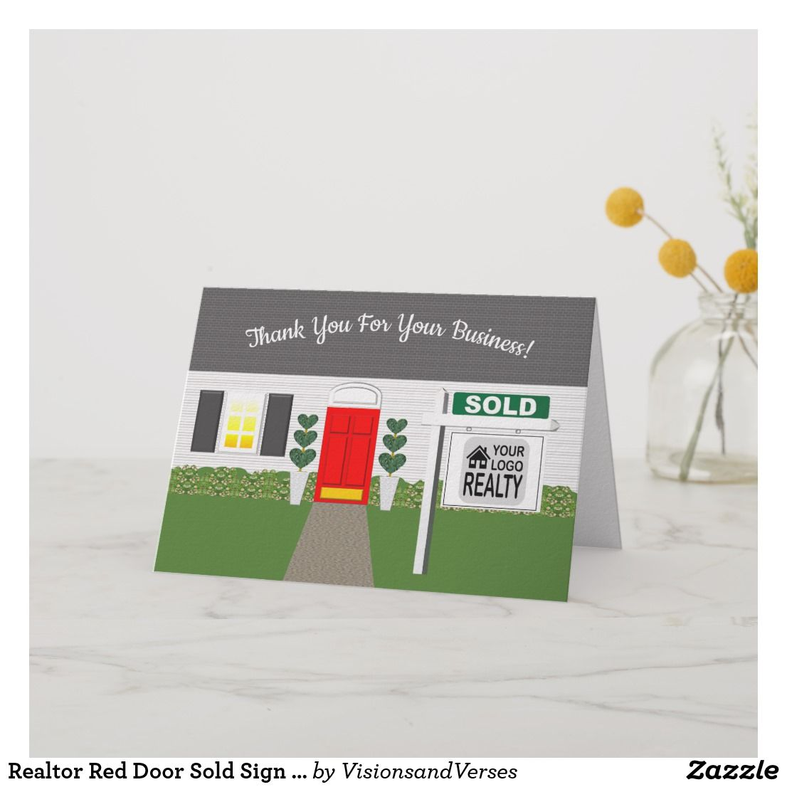 realtor red door sold sign thank you card  zazzle