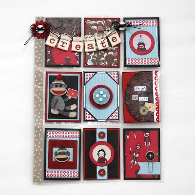 Scrappy Chick Designs: Pocket Letter Creations #2~ Sock Monkey, scrapbook