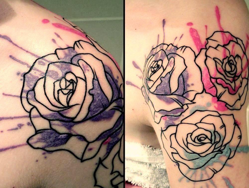 Beautiful watercolorabstract rose tattoo tattoos