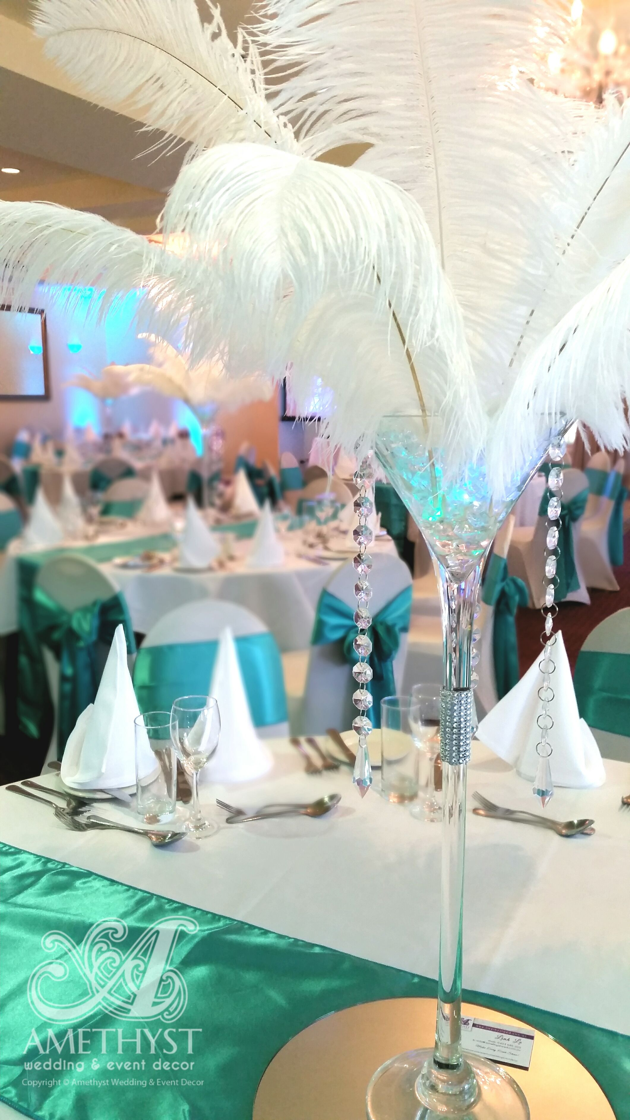 Rent ostrich feather centerpieces wedding amp party centerpiece rentals - Wedding Centerpiece White Ostrich Feathers On Martini Vase With Teal Tiffany Blue Crystals