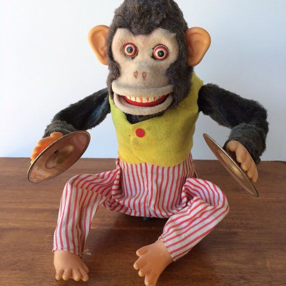 Mechanical Cymbal Clapping Monkey Automated Toy Cool Vintage