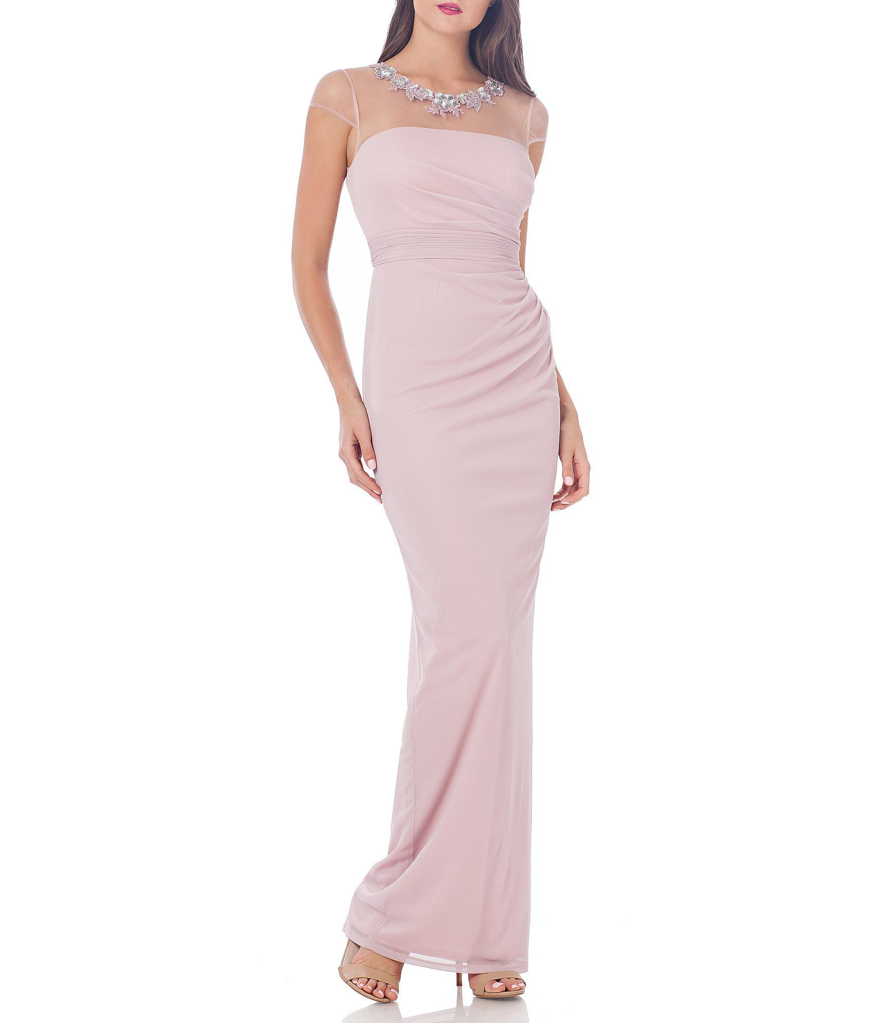 JS Collections Beaded Neck Sheer Matte Jersey Gown | Shops, The o ...