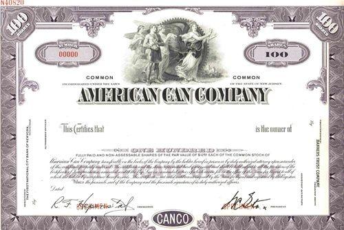 American Can Company Specimen Certificate – Specimen Share Certificate