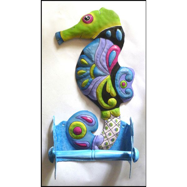 Painted Metal Seahorse Toilet Tissue Holders Bathroom Decor 24 Via Polyvore Featuring Home