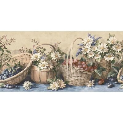 The Wallpaper Company 8 In X 10 In Blue Country Baskets And Sunflowers Border Sample Wc1282553s The Home Depot Wallpaper Companies Wallpaper Wallpaper Border