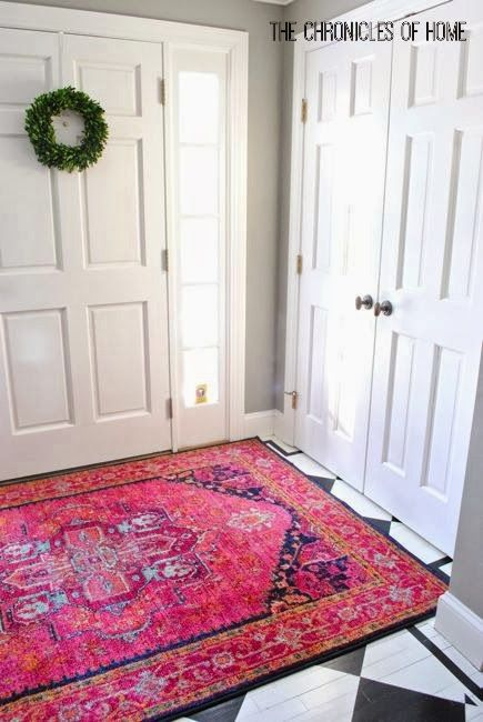 Bold Pink Entryway Rugs Furniture Placement Living Room