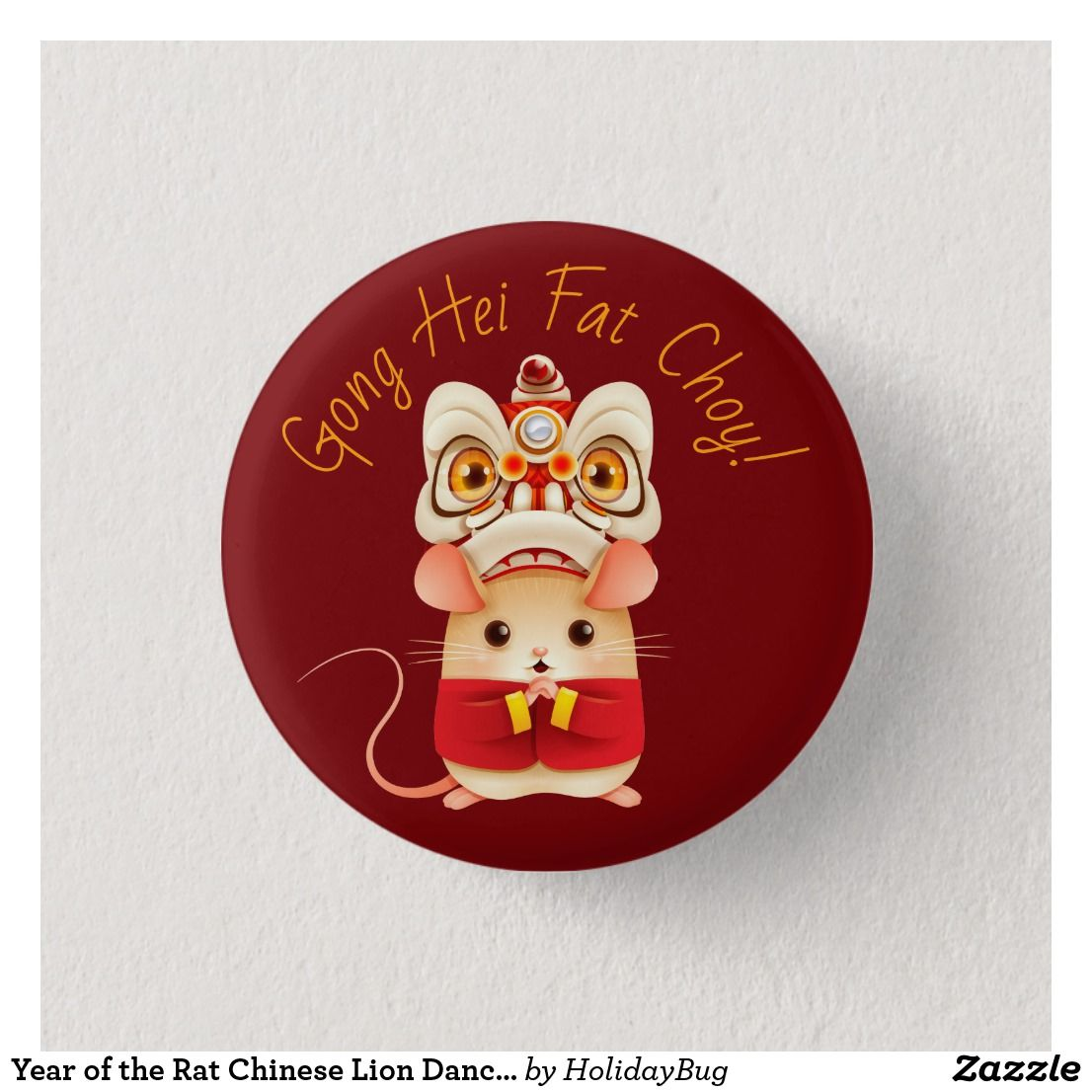 Year of the Rat Chinese Lion Dancer Button
