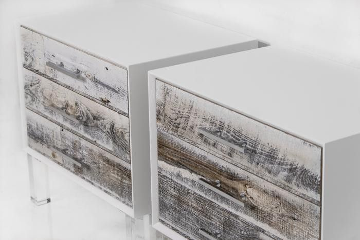 Cody Side Table In Recycled White Washed Wood Mod