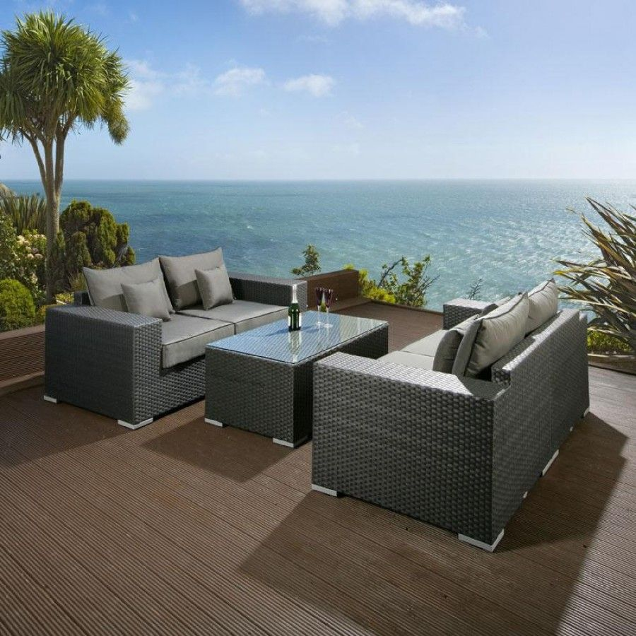 Grey wicker sofa five piece grey rattan garden furniture for Wicker outdoor furniture
