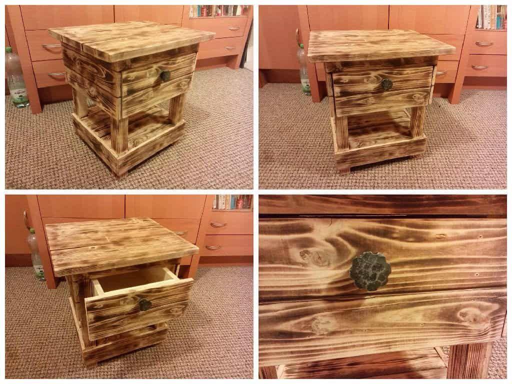 6 Table en palette : Table de nuit en vieux bois de palette