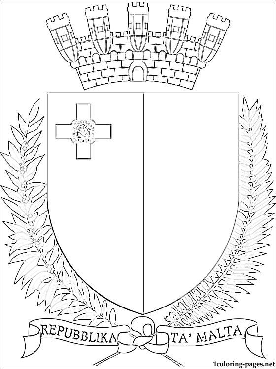 Malta coat of arms coloring page | Coloring pages | ♥ Kindergarten ...
