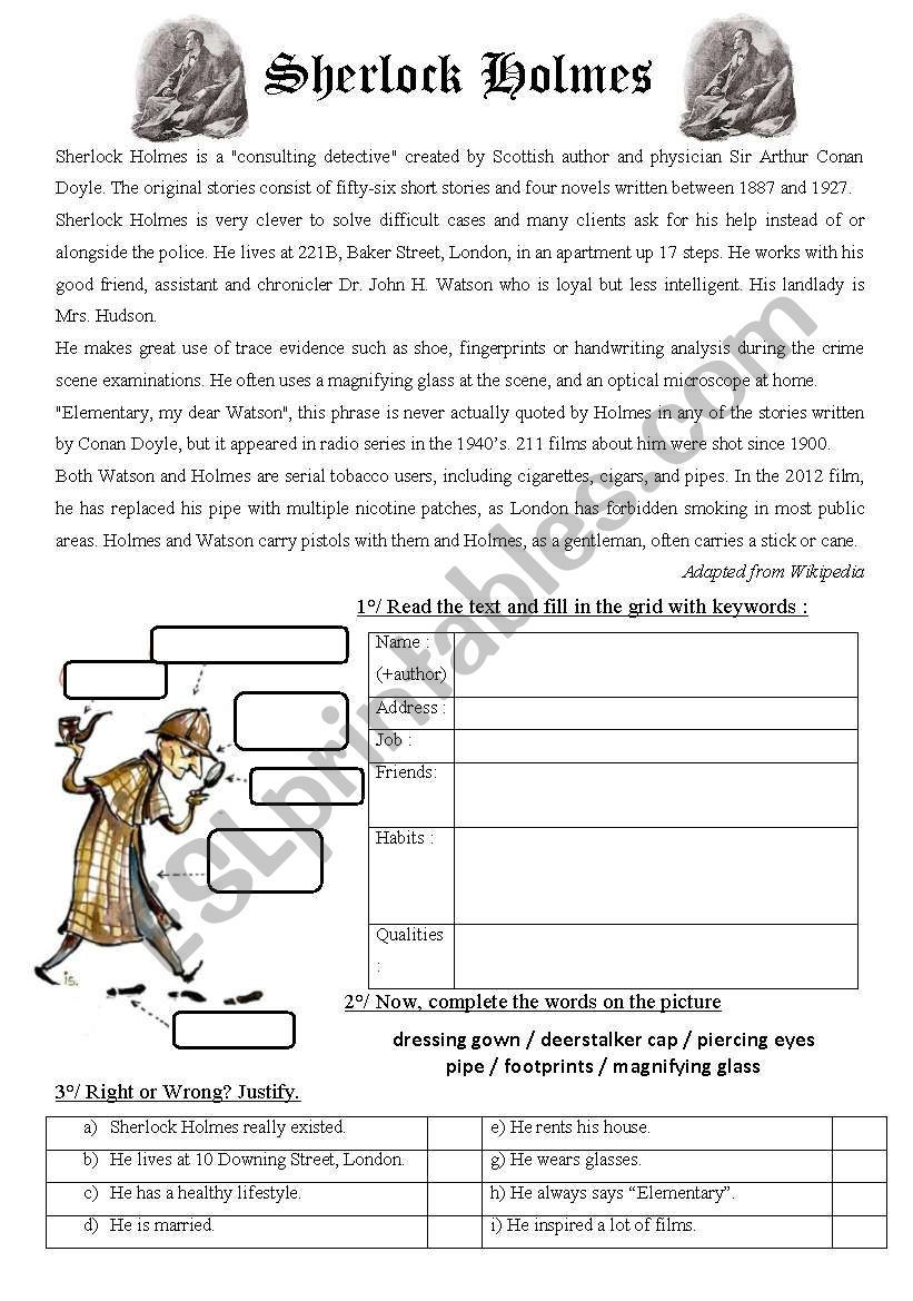 Here Is The First Part Of A Lesson About Sherlock Holmes The Final Task Is To Video A Detective Story Imagined By Chil Sherlock Holmes Sherlock Esl Worksheets [ 1169 x 821 Pixel ]