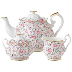 Royal Albert Rose Confetti 3 Piece Set- Teapot, Covered Sugar and Creamer