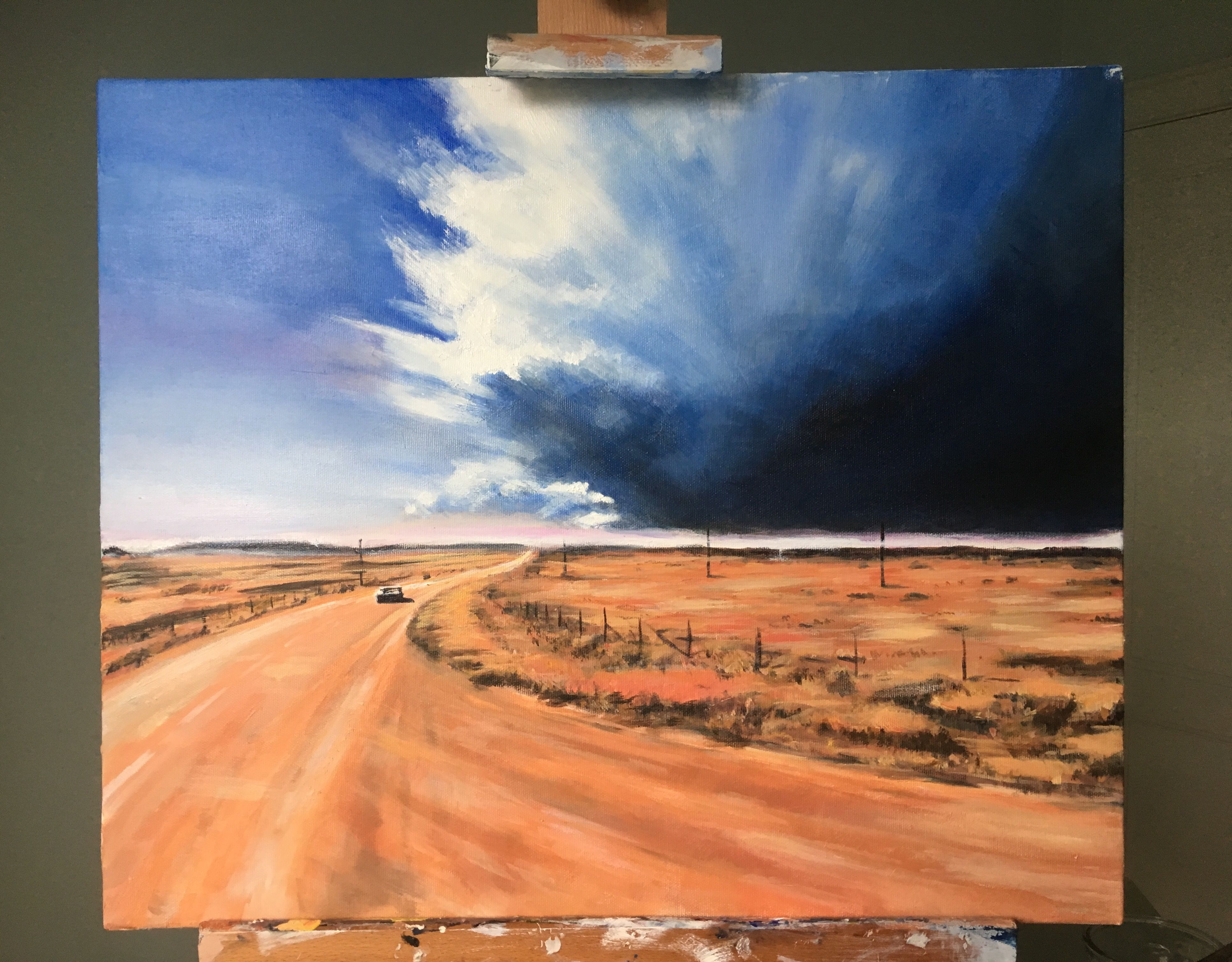 """Heartland Visions -The Springsteen Art Project by Jonas Linell: I've finished painting """"The Promised Land"""" (Oil on canvas, 60 x 50 cm)  Price: 10000 Dkr / €1400 / £1200 / $1500. Signed print: 500 Dkr / € 80 / £ 70 / $ 90  Inspired by a beautiful scene in Terrence Malick's 1973 film Badlands, which in turn is based on the same events as Springsteen's title song from the Nebraska album  Well there's a dark cloud rising from the desert floor I packed my bags and I'm heading straight into th"""