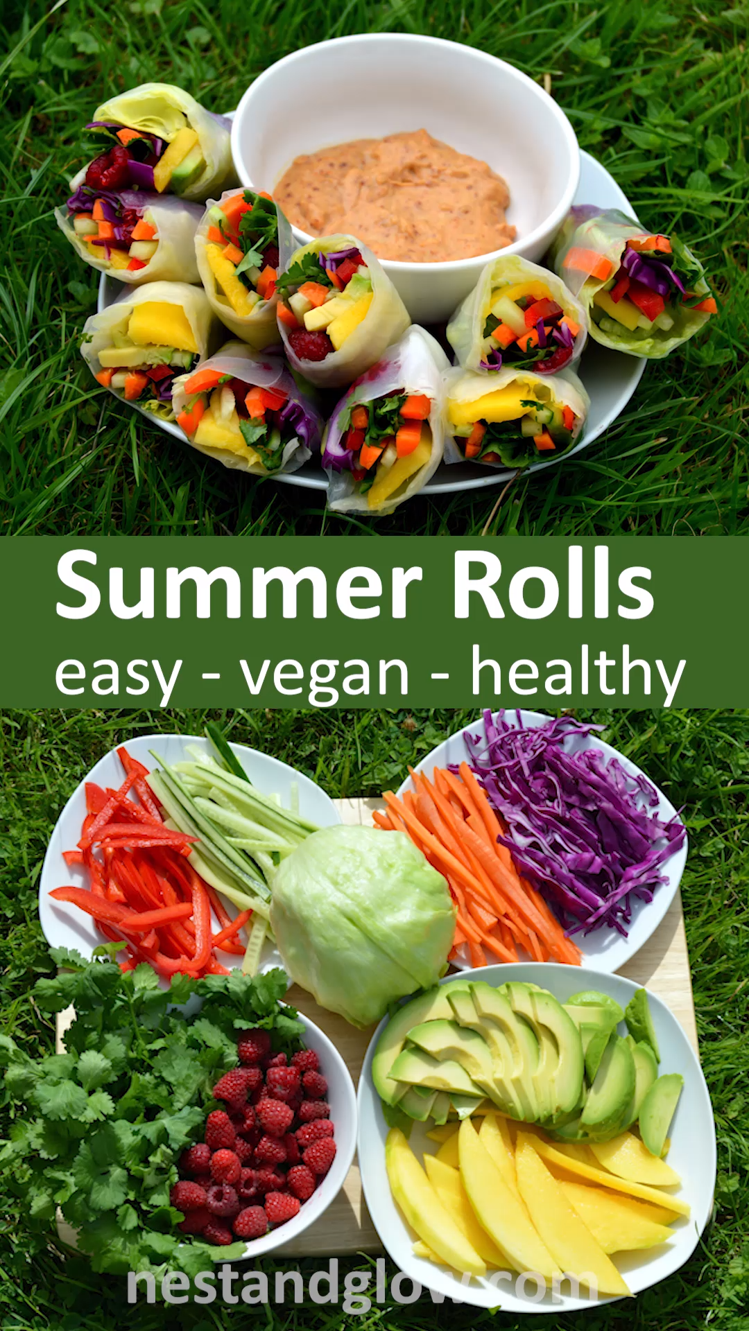 Quick and easy recipe that's much easier to make than it looks. Vegan and full of goodness #veganrecipe #healthyrecipe #healthyfood #Easy Recipes vegan Summer Rolls with Spicy Nut Dip