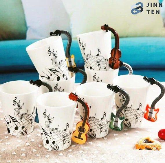 Creative Music Violin Guitar Piano Ceramic Mug, Coffee Tea Milk Cups With Handle