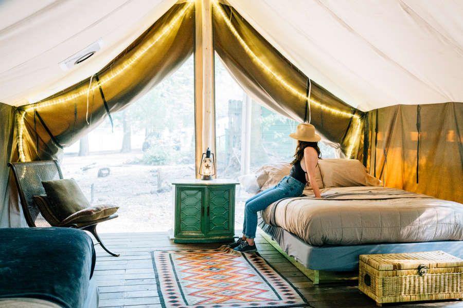 Furnished Glamping Tent, Pine Grove Cobb Resort, CA: 9 ...