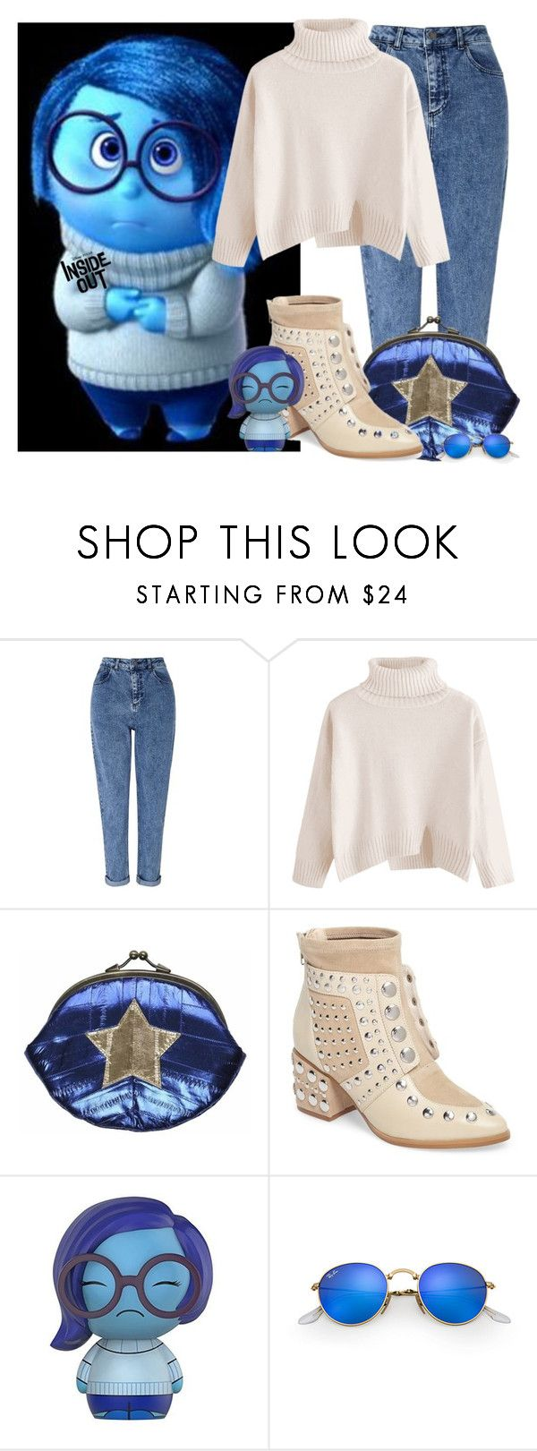 """""""Inside Out"""" by tlb0318 ❤ liked on Polyvore featuring Disney, Miss Selfridge, Maze, Cecelia New York, Funko and Ray-Ban"""