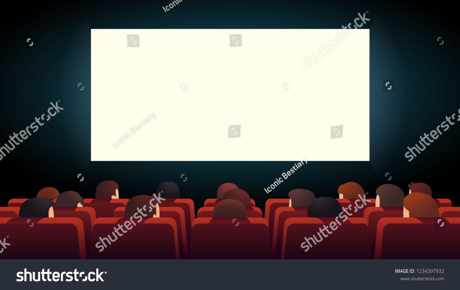 Movie Theater Interior Cinema Audience Crowd Watching Film Sitting In Rows Of Red Comfortable Chairs Looking At Big Lit Theatre Interior Movie Theater Cinema