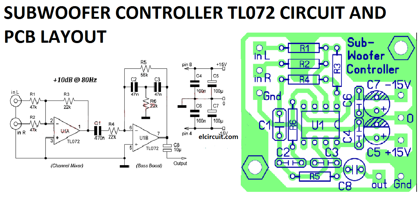 subwoofer controller uses a single ic tl072 circuit diagram [ 1364 x 644 Pixel ]