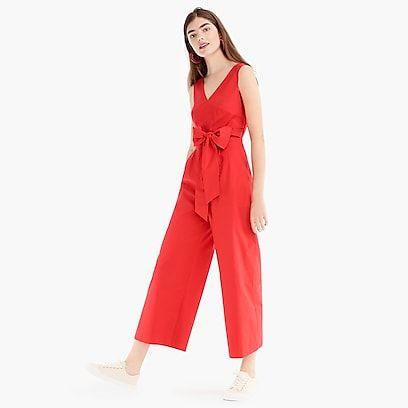 6616ea13830 womens Wrap-tie jumpsuit in stretch poplin