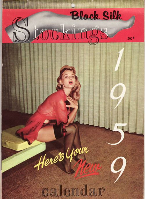 1200262ca70 1959 vintage calendar Cover of Elmer Batters  Black Silk Stockings magazine