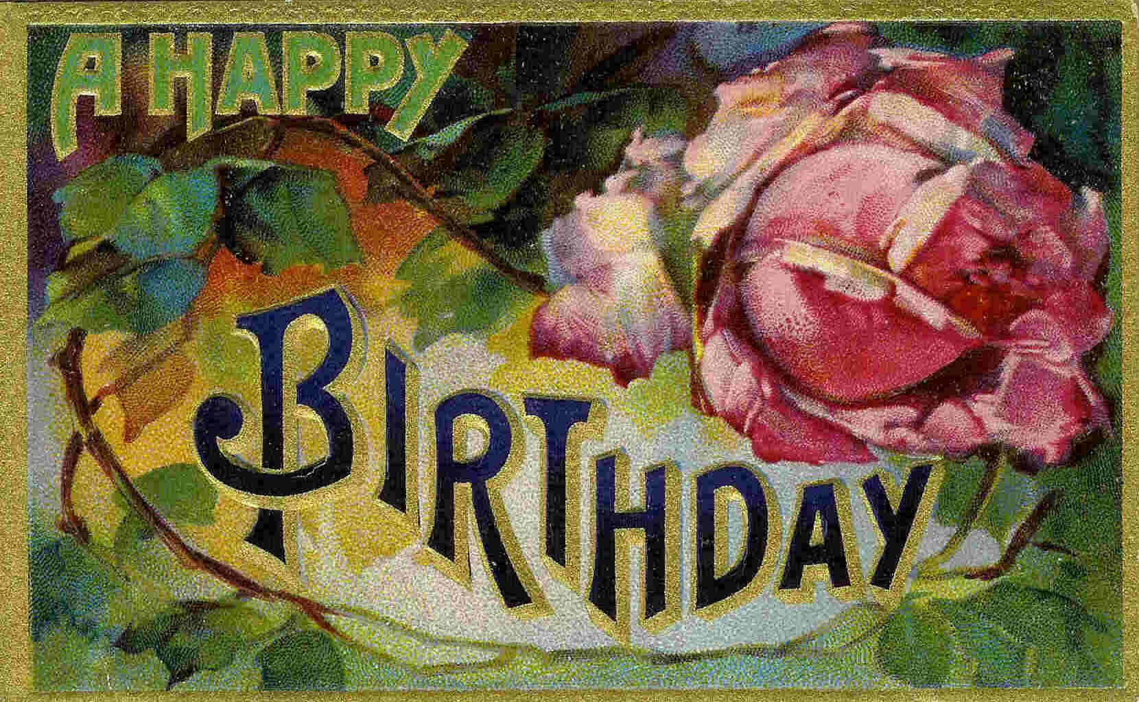 This Beautiful Vintage Happy Birthday Card Is Available For Free Download From The Collection Of Amy