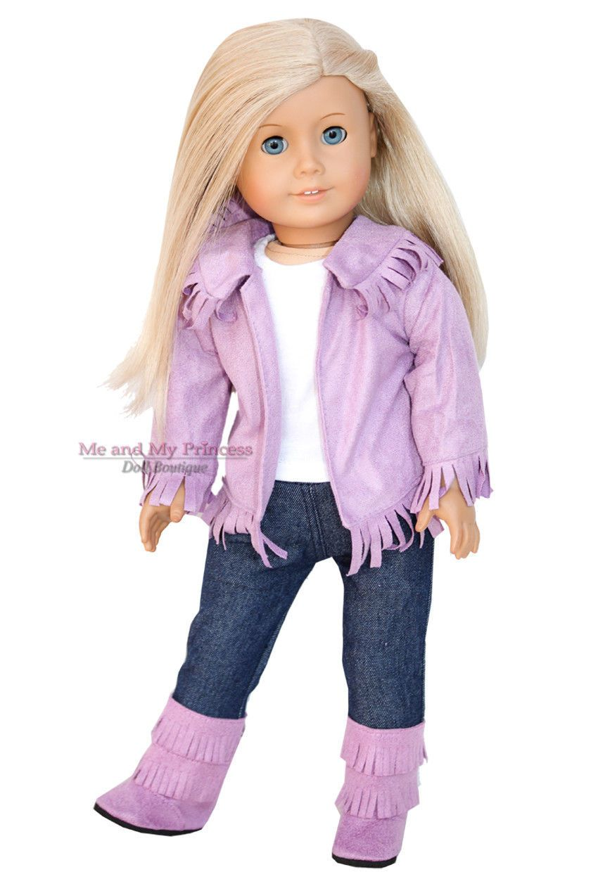 """Pink Western Fringe Cowgirl Cowboy Set Boots for American Girl 18/"""" Doll Clothes"""